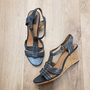 Clarks Gray Blue Leather T-strap Wedge Sandals